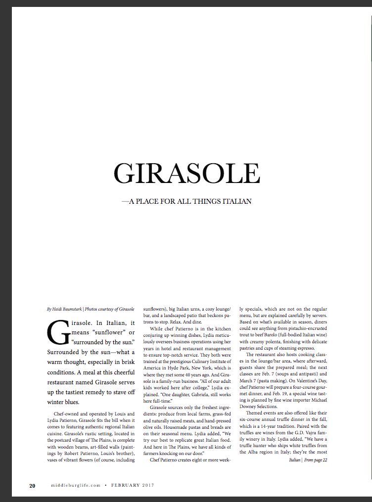Girasole, Middleburg Life