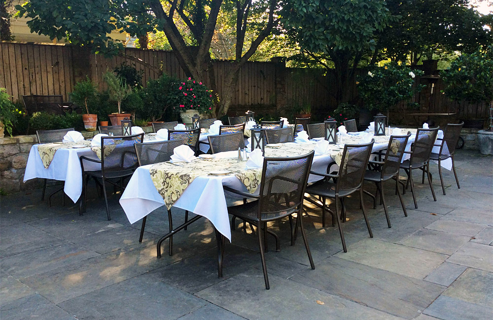 Large patio table at private event