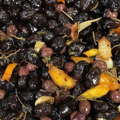 Roast olives with citrus and herbs